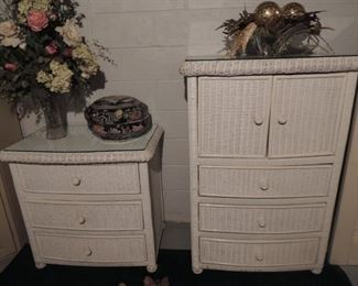 quality wicker wardrobe and bedside table