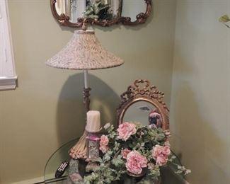 large oriental fishbowl planter table, vintage mirror, decorator items