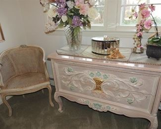hand painted dresser, one of a pair of caned french style chairs