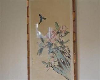 vintage oriental framed silk