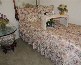 Trundle bed (two twins), Laura Ashley bedding, pillows, and matching window valances.  Oriental fish bowl planter table
