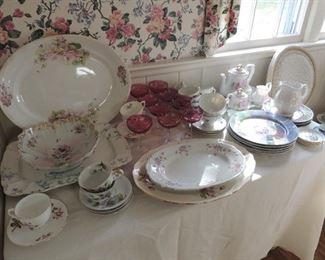 antique platters, tea service, oriental plates, cranberry champagne stems
