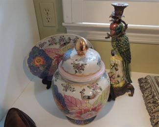 oriental urn and plate