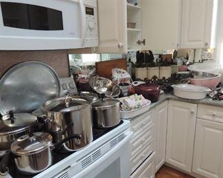 Cuisinart and Farberware, Pyrex, Corning, steak knives