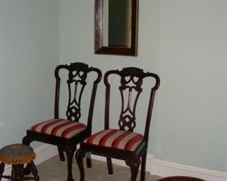 Pair of pierced splat back side chairs