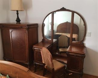 Vanity and Chair; Wardrobe- Part of Six piece 100 year old Antique Bedroom Furniture Suite in Mint Condition