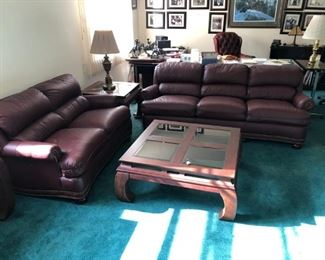 Hancock & Moore leather sofa set