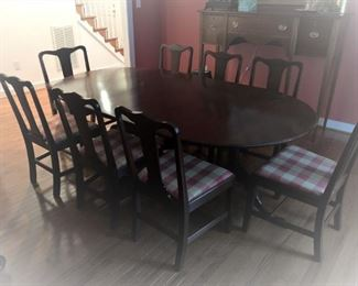 Seay Furniture Co. of Louisa VA. Custom made solid mahogany dining room table and 8 chairs.
