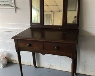 Primitive dressing  vanity table with tri folding mirror. Mirror is not attached just resting on table for photo.