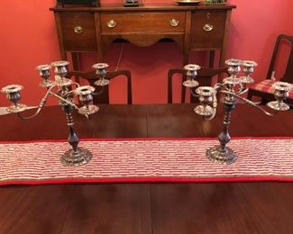 Pair of antique English heavy silver plate 5 arm candelabras.