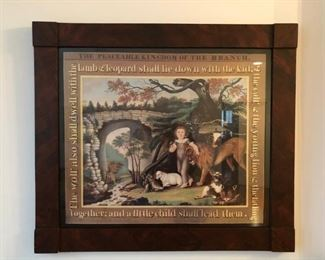 Framed print of The Peaceable Kingdom by Edward Hicks. Purchased at the Folk Art museum in Williamsburg VA.