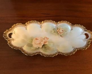 RS Prussia Rose floral motif with heavy gold trim celery relish dish. Fabulous piece!