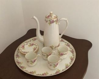 Limoges coffee, tea, chocolate pot with 4 cups, saucers and under plate.