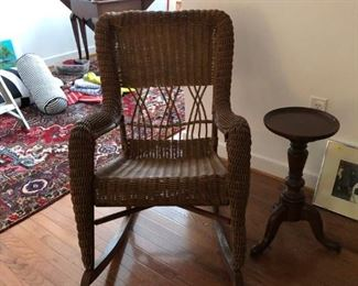 Antique rocking chair. Professionally repaired. Halifax County VA. Mahogany small round side table.