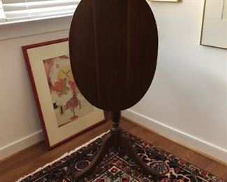 Seay Furniture Co. mahogany oval tilt top table