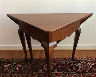 Seay Furniture Co. mahogany handkerchief table, side folds down for a triangular shape or opens to a square.