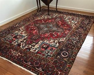 Hand knotted wool rug. Upstairs bedroom.
