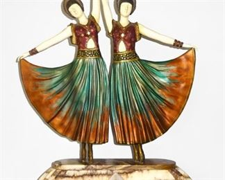 """After Chiparus - """"The Dolly Sisters"""" Bronze & Ivory"""