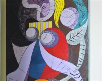 """Mosaic Reproduction of Picasso's """"La Femme A La Fleur"""""""