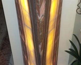 Lighted Stone Triangular Display Pedestal