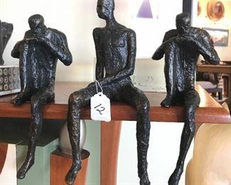 Thinking Man & Posing Man Metal Shelf-Sitter Sculptures