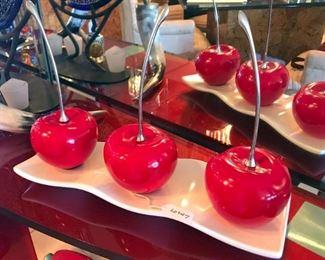 Red Ceramic Cherries