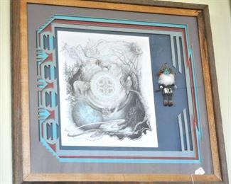 Karen Pierre. Native American framed art.