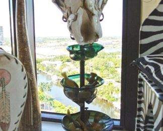 Fused Blown Glass Buffalo Skull Sculpture on Stand with 3-Tier Blown Glass Bowls