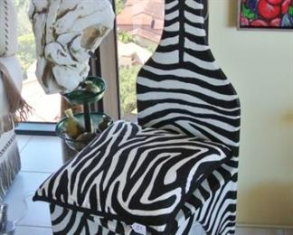 Whimsical Painted Wooden Zebra Chair with Pillow