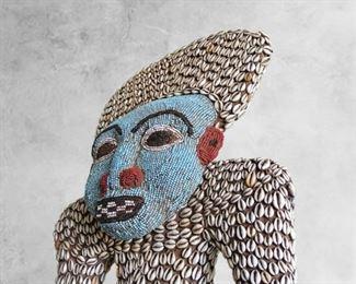 Bamileke Beaded Chief on Throne Statue (Western Cameroon)