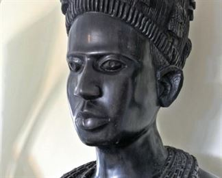 Life Size African Wood Carving of a Woman