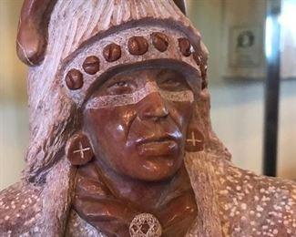 Orland C. Joe Native American Stone Sculpture on Wood base