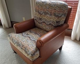 Faux ostrich skin and fabric chair