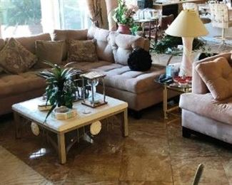 Tan microsuede sectional and love seat