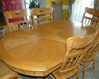"Dining Room table with 6 chairs, leaf; 41"" W x 69"" L x 30"" H"