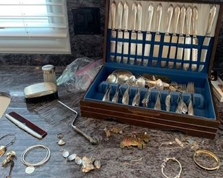 Silver plate flatware and sterling jewelry