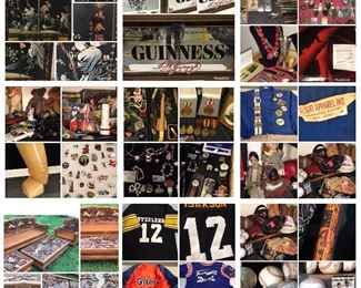 Chinese Panel, sports jerseys, Mickey Mantle signed baseball, beer advertising, Rare carved furniture