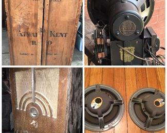 Rare Atwater Kent Shipping crate, Jensen field coil speaker, JBL speakers