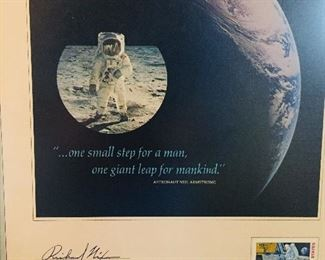 """Framed first day cover of """"First Man on the Moon"""" signed by  Richard Nixon"""