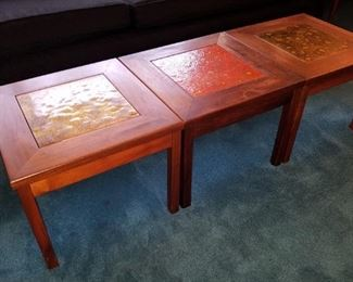 Brown Saltman Enamel Inlaid Tables