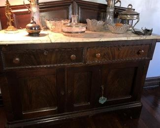 EMPIRE MARBLE TOP SIDEBOARD