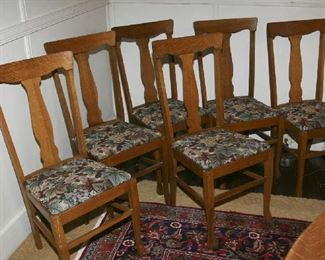 TWO SETS OF 6 EACH OAK DINING CHAIRS + 1