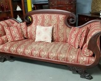 "Antique Victorian Cleopatra style French Provincial sofa with animal foot front legs 100.25""W"