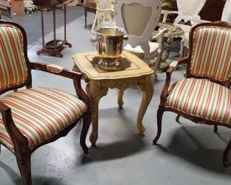 2 French Provincial striped padded fabric solid wood armchairs