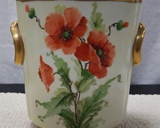 HEINRICH CO. H & C SELB BAVARIA Poppy CACHE POT ~ VASE ...Waste Basket
