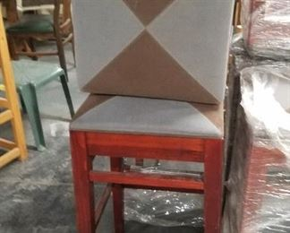 """(9) Gar Furniture solid cherry frame 2 toned nova suede style padded seat tall 30""""H square bar stools"""