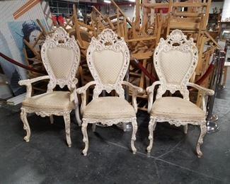 (3) Italian French Provincial cream padded fabric arm chairs  (1) Similar style available not pictured