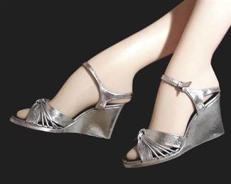 Vintage Silver wedge heels
