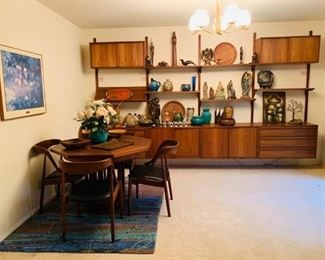 Mid Century Modern Table and Chairs. Wall Unit Not For Sale!