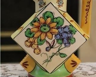 Deco hand painted pottery pitcher